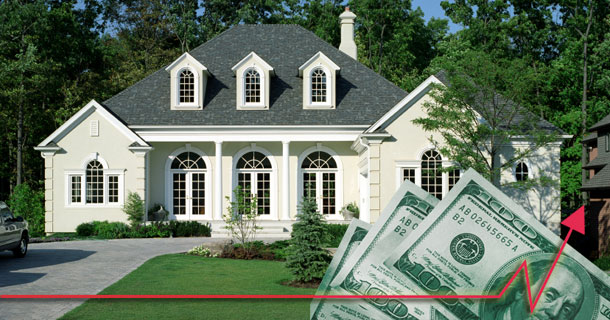 Home with Increasing Dollar signs