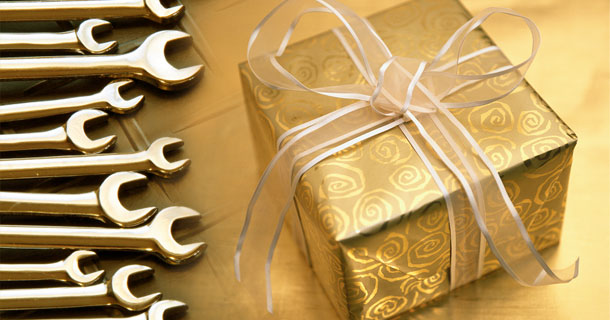 wrenches and a gift box