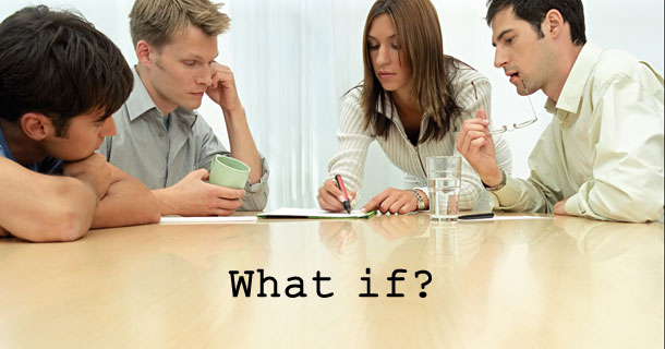 Four people in discussion