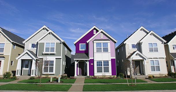 purple home amidst tan ones
